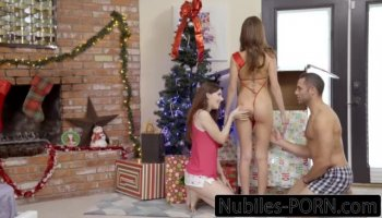 Gia and her friend took turns on blowjob sucking the woodsman
