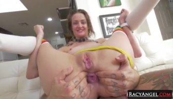 Party girls spreading pussies for huge cocks